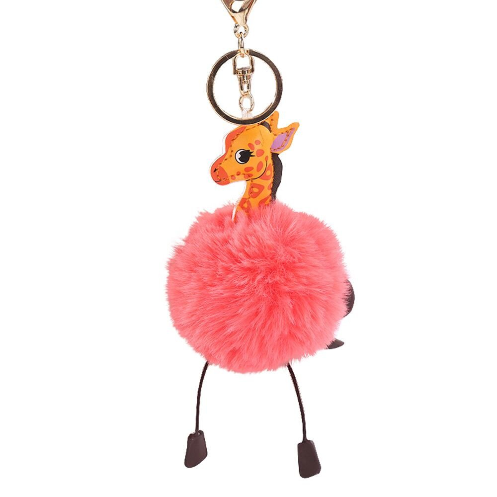 Gbell Puffy Pom Pom Ball Key Chains for Girls Backpack Schoolbag Pencil Case Purse Charm Pendant -Cute Giraffe Fluffy Pompom Keychain for Girls Toy Gifts,1Pcs 10 cm (Watermelon Red)