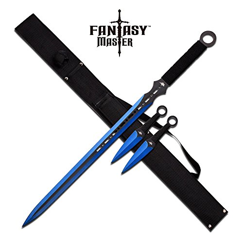 FM-644BL-MC Fantasy Master Fm-644BL Fantasy Ninja Sword & Two Throwing Knives -