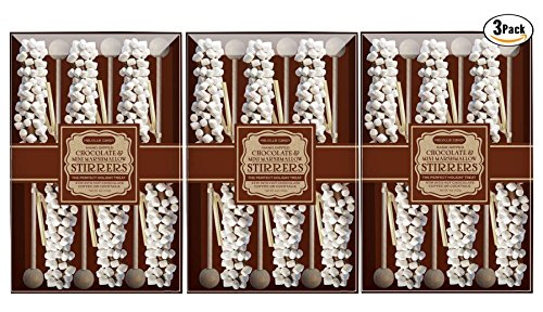 Melville Candy Mini Marshmallow Hot Chocolate Stirrers, 3 packs of 6.