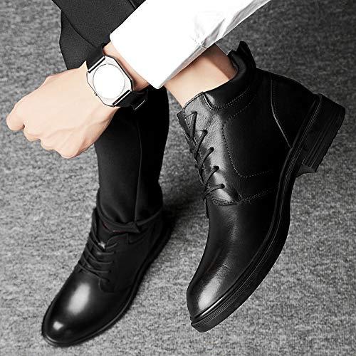 da di Dimensioni di Uomo Stivali Aiuto Grandi di Stivali Stivali Alta Scarpe Black Pelle dZxYdw8