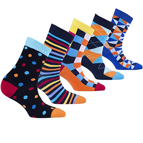 Socks n Socks-Kids 5pk Fun Cotton Colorful Crew Socks Gift Box-Medium