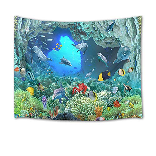 HVEST Dolphin Tapestry Tropical Fish and Coral Reef in Cave Under Deep Sea Wall Hanging Ocean Tapestries for Kids Bedroom Living Room Dorm Birthday Party Wall Decor,80Wx60H inches
