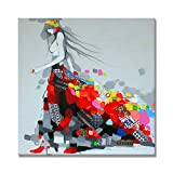 UAC WALL ARTS Handmade Colorful Oil Paintings Modern Dressing Girl Abstract 3D Canvas Art Wood Inside Framed for Wall Decoration Ready to Hang 24x24Inch