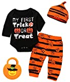Halloween 4Pcs Outfit Set Baby Boy Girls Pumpkin Costume Bodysuit with Candy Bag (Black, 12-18 Months)