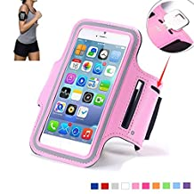 Tsmine LG E960 Google Nexus 4 Sports Gym Armband - Universal Water Resistant Running Jogging Fitness MobilePhone Pouch Armband Case for LG E960 Google Nexus 4 D725, Size S, Baby Pink