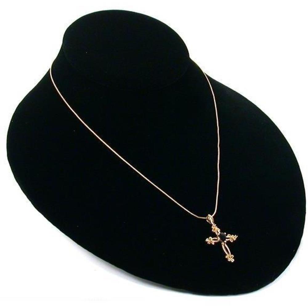 Black Velvet Necklace Chain Bust Jewelry Case Displays 171-1BK