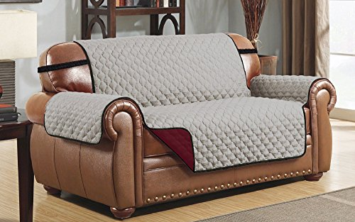 Le Benton Reversible Love Seat Cover, Quilted Pet Couch Protector, Slipcover, Grey/Burgundy (Burgundy Slipcover)