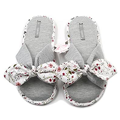Millffy New Season Summer Floral Sweet Memory Foam Slipper Japanese Flowers Ladies Cotton Slippers Shoes Grey Size: 5-6