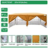 Cheap Quictent Silvox Waterproof 20×10′ EZ Pop Up Canopy Gazebo Party Tent Orange Portable Style
