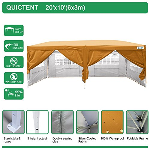 Quictent Waterproof 20×10′ EZ Pop Up Canopy Gazebo Party Tent Carport Folding Frame Ez Set Up Style Sides Removable With Roller Bag Orange