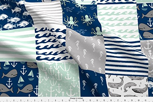 Spoonflower Wholecloth Fabric Nautical Cheater Quilt // Wholecloth Navy Mint and Grey Nautical Fabric by Andrea Lauren Printed on Kona Cotton Ultra Fabric by The Yard