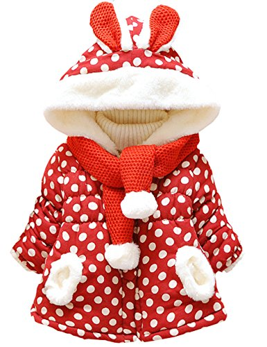 Baby Girls' Dot Printed Hooded Outerwear Winter Warm Jacket Coat(red,2-3 Years)