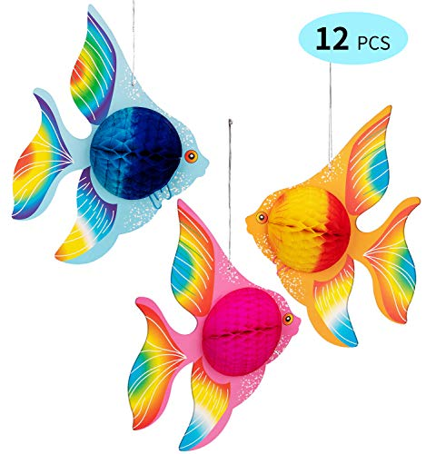 90shine 12PCS Tropical Fish Party Decorations Supplies- Under-The-sea/Mermaid/Luau/Hawaiian/Kids Birthday -