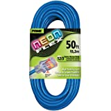 Prime Wire & Cable NS514830 50-Foot 12/3 SJTW Flex High Visibility Extra Heavy Duty Outdoor Extension Cord with Prime light Indicator Light, Neon Blue