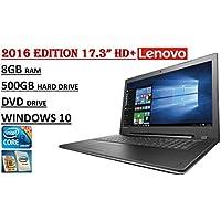 2016 Edition - Lenovo IdeaPad 300 17.3 HD+ Laptop - 6th Gen. Skylake i3-6100U Processor - 8GB RAM - 500GB HDD - DVDRW - WebCam - HDMI - WiFi - Windows 10.
