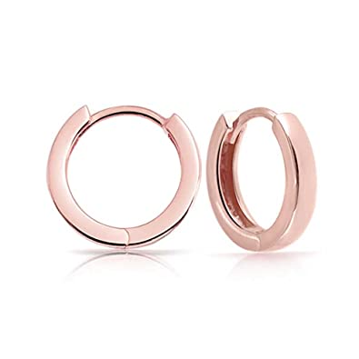 Bling Jewelry Mens Mini Rose Gold Plated Silver Huggie Hoop