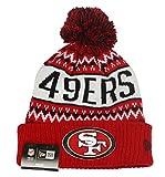 New Era Kid's San Francisco 49ers Wintry Pom Knit Beanie One Size Red Black White