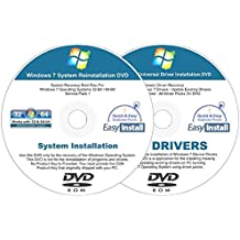 Windows 7 (SP1) 32 & 64 bit Easy Install Reinstall DVD Set - Home Basic Premium Professional Ultimate + 2017 Driver DVD Included - 2 Disc Easy Automatic Installation Kit
