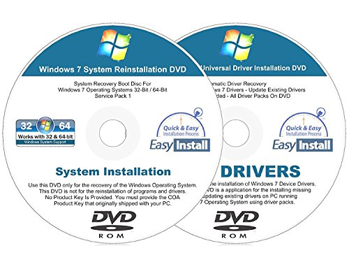Windows 7  Sp1  32   64 Bit Easy Install Reinstall Dvd Set   Home Basic Premium Professional Ultimate   2017 Driver Dvd Included   2 Disc Easy Automatic Installation Kit