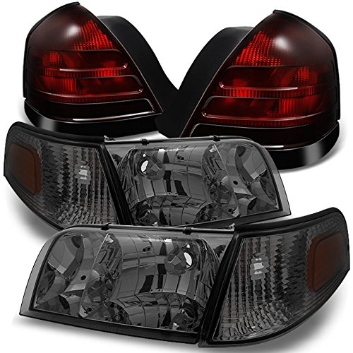 For Ford Crown Victoria Smoke Headlights Repalcement Pair + Dark Red 2 Bulb Socket Tail Lights Combo Set