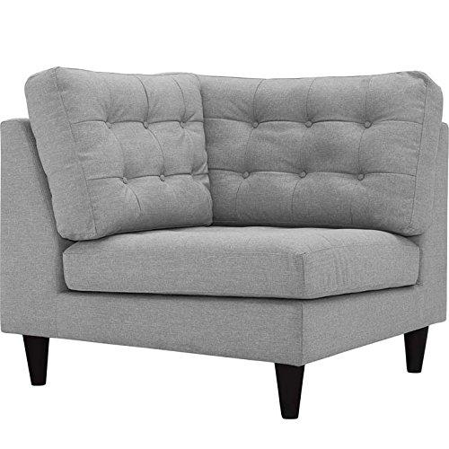 Modway Empress Mid-Century Modern Upholstered Fabric Corner Sofa In Light Gray