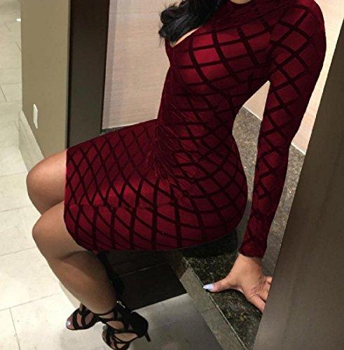 Coolred-femmes À Carreaux À Manches Longues Fermeture À Glissière Haute Cou Vin Robe Club Creux Rouge
