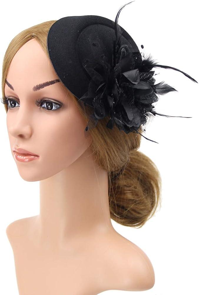 Fascinators Hats for Women Feather Pillbox Hat Headband with Mesh Veil Wedding Cocktail Tea Party Headwear