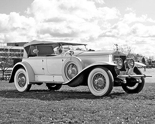 Rolls-Royce Phantom Ascot Sport Phaeton I (1929) Car Art Poster Print on 10 mil Archival Satin Paper Black and White Front Side Studio View 16