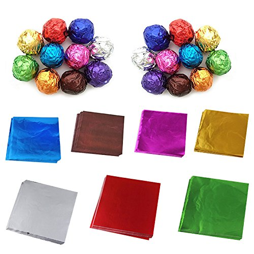 Paper Wrapping Chocolate (1 Bag(100 Sheets)Aluminum Foil Wrapping Paper for Chocolate and Sugar Candy)