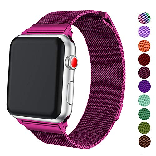 DELELE Compatible for Apple Watch Band 38mm 42mm 40mm 44mm, Milanese Loop Magnetic Metal Replacement Strap with Magnet Lock for Apple iWatch Series 4/3 / 2/1 Women Men (Fuchsia, 42mm/44mm)