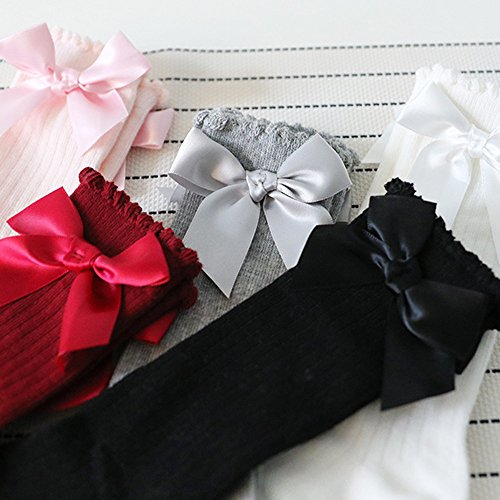 Baby Girl Knee High Long Socks Big Bow Leg Warmer Soft Cotton Lace Sock for 1-4 Year Old Girl (0-2 years, Red) by OVERMAL_Socks (Image #3)