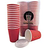 100% COMPOSTABLE - 12 oz Paper coffee cups with...