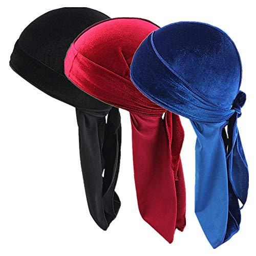 Unisex 3PCS Deluxe Luxury Velvet Durag 360,540,720 Waves Headwraps Pirate Cap Long Tail Doo RAG (Black+Red+Navy Blue)