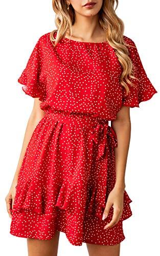 ECOWISH 2019 Women's Polka Dot Scoop Neck Ruffles Mini Cute Dress Short Sleeve Summer Dresses with Belt 980 Red Small