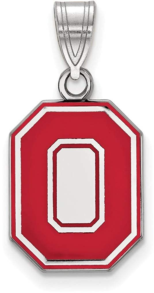 Sterling Silver Ohio State University Medium Enamel Pendant by LogoArt SS056OSU