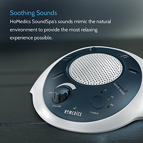 HoMedics White Machine | Therapy for Office, 6 Relaxing & Nature Sounds, Battery Adapter Auto-Off Timer Blue