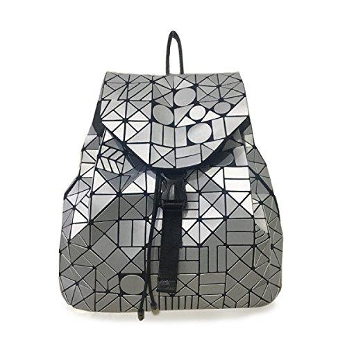 La Sra Mochila Lingge PU bolsos De Mano Mate Bolso De Hombro Geométrica Japonesa Silver
