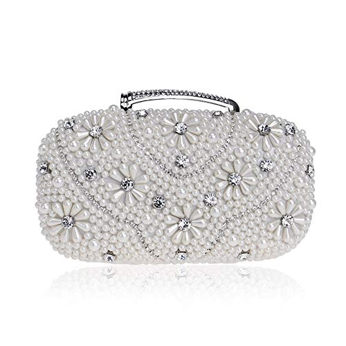 New Women's Floral Beaded Design Evening Clutch Bags Fashion (Color : Gold, Size : Free Size)