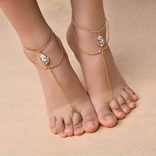 Vibola barefoot sandals beach foot jewelry ankle bracelet anklet bohemian anklets for women (18k Gold Plated Mesh)