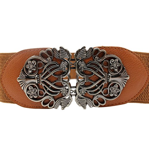 Voberry® Women's Vintage Wide Elastic Stretch Metal Buckle Waist Belt Waistband (Brown)
