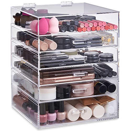 Beautify Extra Large 6 Tier Clear Acrylic Cosmetic Makeup Storage Cube Organizer with 5 Drawers, Upper Compartment and Removable Divider - 15 x 12 x 12 inches by Beautify