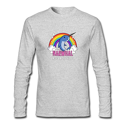 (Jidfnjg Narwhal Rainbow Unicorn Of The Sea (2) Perfect Round Neck Long Sleeve Fall Wear T-Shirt.)