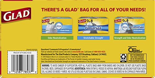 Glad ForceFlex Drawstring Tall Kitchen Trash Bags, Unscented, 13 Gallon, 76 Count>