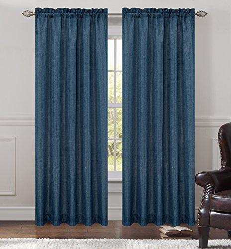 Urbanest 54-inch by 96-inch Tweed Set of 2 Sheer Drapery Curtain Panels, London Blue ()