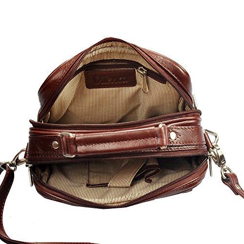 """Vilenca """"40456 Marron"""" Sac à main Sac à bandoulière en cuir pratique naturelle Taille moyenne - L28 cm x H33 cm x W9cm ..."""