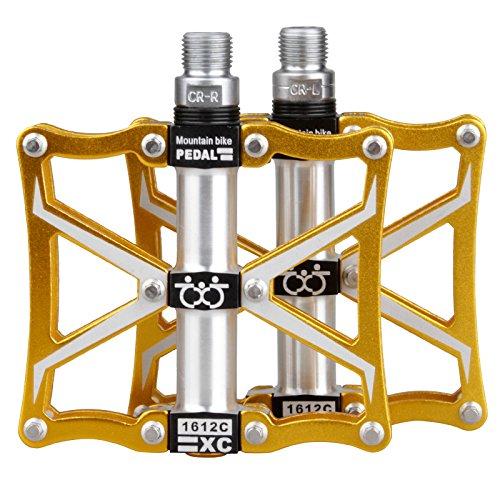 TXJ Mountain Bike Pedals Platform Bike Pedals Aluminum Alloy 9/16 CNC Ultra Sealed Bearing Bicycle Bike Pedals (Bmx Bikes Black And Gold)
