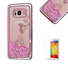 For Samsung Galaxy S8 Plus Case,Funyye Transparent Electroplate Plating Frame +New Creative Floating Water Liquid Small Love Hearts Design Color Change Soft TPU Shock Proof Case for Samsung Galaxy S8 Plus-Butterfly Girl