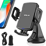 OPOLAR Fast Wireless car Charger with Phone Holder Mount on Dashboard&Windshield&Air Vent, 10W for Samsung,7.5W for iPhone and Qi-Enabled Device, 0 Heat, Washable Sucker, 360°Rotation, USB Car Charger