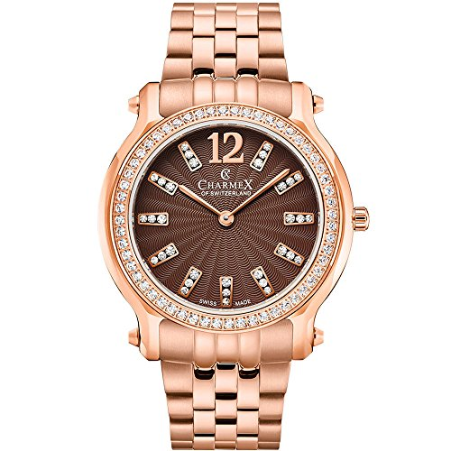 Charmex Women's EZE 31.5mm Rose Gold-Tone Steel Bracelet & Case Quartz Brown Dial Analog Watch 6347
