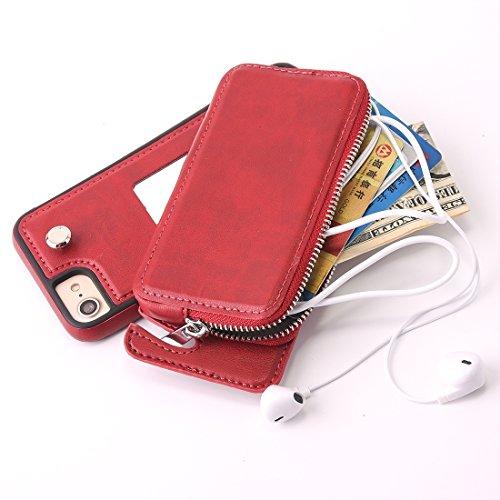 DuoShengZhTG Per iphone 8e 7Custodia protettiva TPU + rotazione rimovibile di pelle con borsa a portafoglio con cerniera Grigio Grigio Rosso